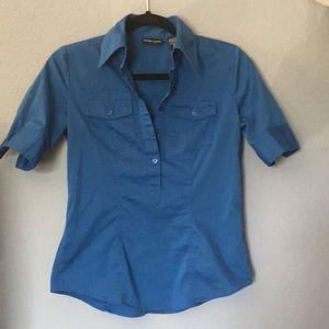 New York & co. XS quarter sleeve blue blouse